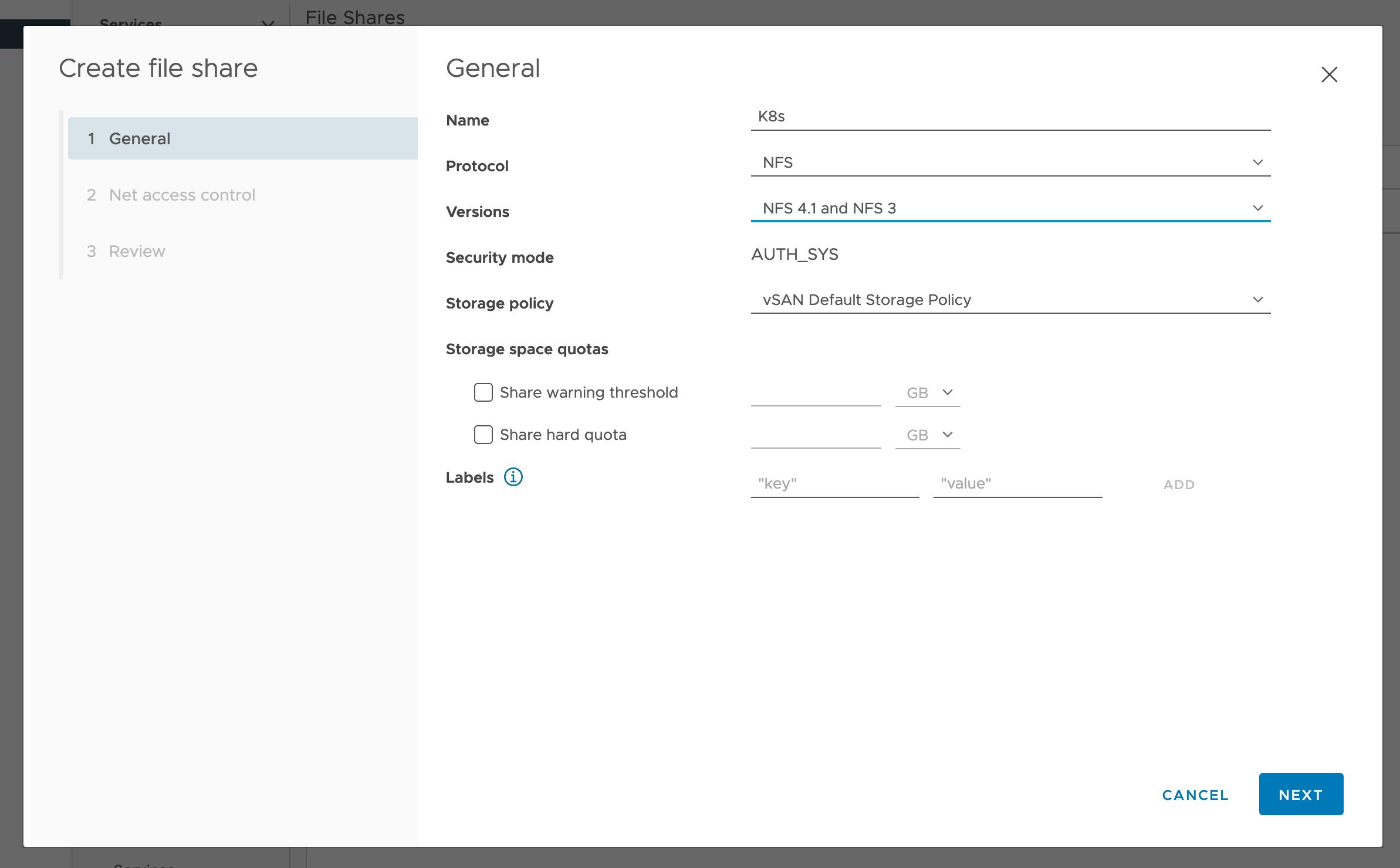 Add vSAN File Service Share