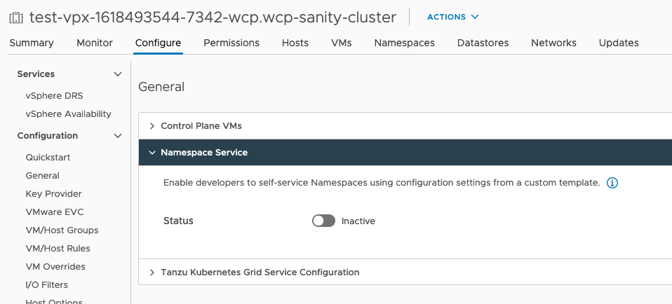 vSphere with Tanzu Namespace Self Service